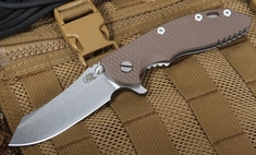 "Rick Hinderer XM-18 3 1/2"" Flipper - Brown G-10 Skinner Tactical"