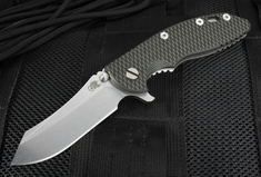 "Rick Hinderer XM-18 3 1/2"" Skinner Blade - Black and Tan G-10"