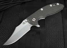 """Rick Hinderer XM-18 3.5"""" Bowie Blade - Black and Tan - S35VN"""