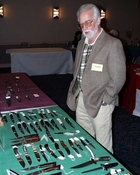 Houston Price, Publisher of Knife World, looks over our knives