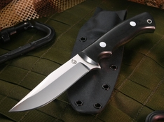 KnifeArt.com All Purpose Fixed Blade Knife - Black Micarta - D2 Steel