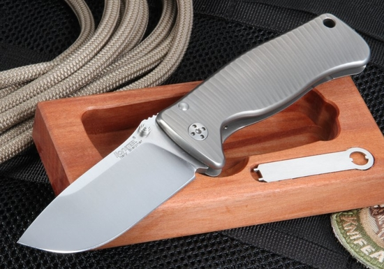 LionSteel SR2G  Blasted Titanium Folding Knife