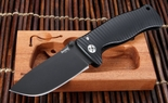 Lion Steel SR-1 Black on Black Integral Aluminum Tactical Folding Knife