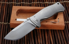 LionSteel SR1 Integral Titanium Handle Folding Knife - Blasted