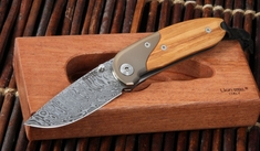 LionSteel MINI Damascus Blade - Ti Bolster - Olive Wood Folding Knife