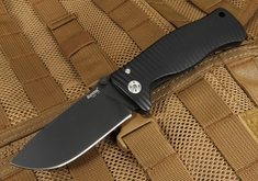 LionSteel SR1 Black on Black Integral Aluminum Tactical Folding Knife