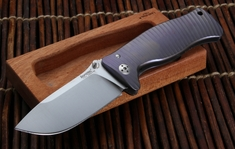 LionSteel SR1 Integral Titanium Handle Folding Knife - Blue Anodize