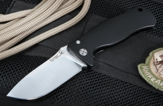 LionSteel SR2A-BS Black Anodized Aluminum Folding Knife