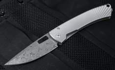 LionSteel Tispine Damascus - Raindrop Damascus Pattern Folding Knife - TS1