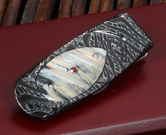 William Henry M1 Permian Mammoth Tooth, Ruby and Damascus Money Clip