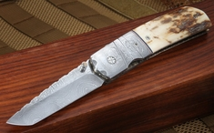 Mel Pardue Big Tanto Mammoth & Damascus Folding Knife 2
