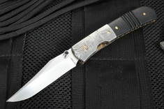Mel Pardue Custom Gents Damascus Folding Knife
