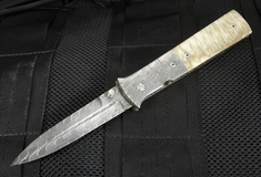 Mel Pardue Fluted Damascus and Musk Ox Horn Folding Dagger