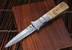 Mel Pardue Fossil Mammoth & Damascus Folding Dagger - SOLD