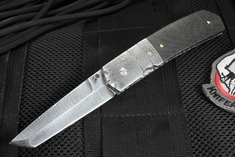 Mel Pardue Tanto Carbon Fiber and Double Twist Damascus Folding Knife