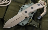 Microtech Crosshair Tan Blade / Serrations - Tan Handle Fixed Blade Knife - SOLD