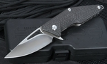 Brous Blades Mini Division Satin Finish Flipper Carbon Fiber Folder