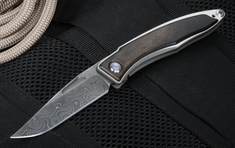 Chris Reeve Mnandi Gabon Ebony and Stainless Raindrop Damascus