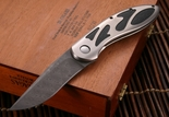 """New-B with Kickstop"" Williams Flipper Damascus Folding Knife"