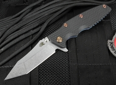 "Rick Hinderer 3.5"" Eklipse Black and Battle Blue Folding Knife"