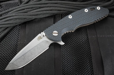 "Rick Hinderer XM-18 3.5"" Black and Blue Flipper - Spanto - Battle Bronze"
