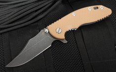 "Rick Hinderer XM-18 3.5"" Bowie DLC, Tan and Battle Blue"