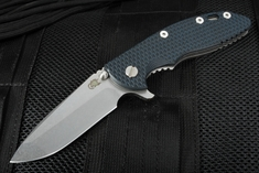 "Rick Hinderer XM-18 3.5"" Black and Blue Flipper - Spanto - S35VN"