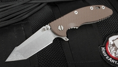 "Rick Hinderer XM-18 3.5"" FATTY Edition Brown Harpoon Flipper"