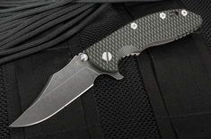 "Rick Hinderer XM-18 3.5"" Bowie - Black and Green - DLC Blade - Working Finish Handle"