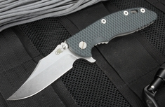 "Rick Hinderer XM-18 3.5"" Bowie Blade - Black and Blue - Working Finish"
