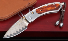 William Henry B09 Rosemont - Damascus & Cocobolo Folding Knife