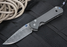 Exclusive Chris Reeve Large Carbon Fiber and Raindrop Pattern Damascus Sebenza