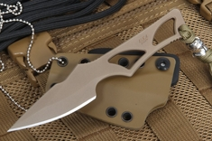 Spartan Blades Enyo Flat Dark Earth - Neck Knife Fixed Blade
