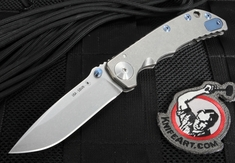 "Spartan Harsey Folder 4.25"" S35VN Steel - Framelock with Blue Titanium Hardware"