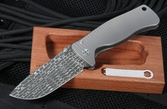LionSteel SR2 Lizard Pattern Damascus Folding Knife