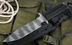 Strider D9 SS Black and Tiger Tactical Fixed Black Knife - SOLD