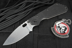 Strider Knives Black SMF Stone Washed Folding Knife - CPM-154