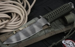 Strider MT SS Ranger Green and Tiger Stripes Spearpoint Fixed Blade Knife