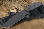 Strider Knives RH Black on Black Gunner Grip Fixed Blade