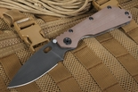 Strider SMF CC Coyote Tan Black Blade Folding Knife