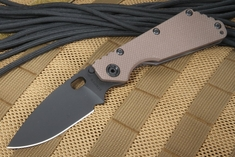 Strider SMF Coyote Tan Black Blade Tactical Folding Knife - CPM-154 Hollow Grinds