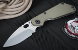 Strider SNG Hollow Grinds Ranger Green and Stone Washed Folding Knife