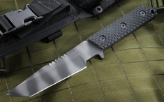 Strider VB GG SS Black Tiger Stripe Tactical Fixed Blade Knife