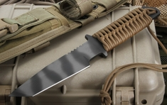 Strider WB MOD 10 Coyote Tan Cord Wrap Tactical Fixed Blade Knife - SOLD