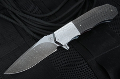 Andre Thorburn Carbon Fiber and Damascus Tactical Flipper