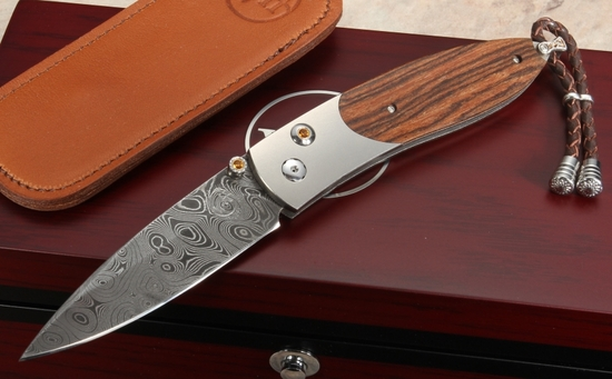 William Henry B05 Arrow - Bocote and Jet Stream Patterm Damascus Folding Knife