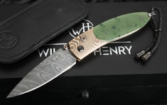 William Henry B05 Burma - Green Jade, Mokume and Damascus Folding Knife