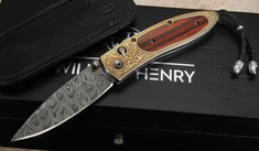 William Henry B05 Kerala Damascus, Gold and Cocobolo Folding Knife