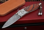 William Henry B05 Pipe Creek Monarch - Damascus and Silver Folding Knife