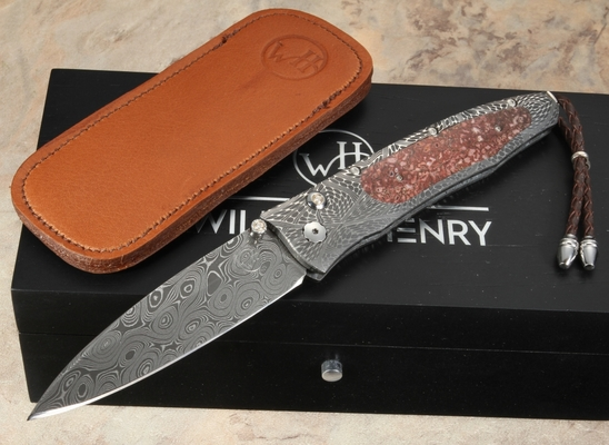 William Henry B30 Molten - Dinosaur Bone, Diamonds & Damascus Folding Knife
